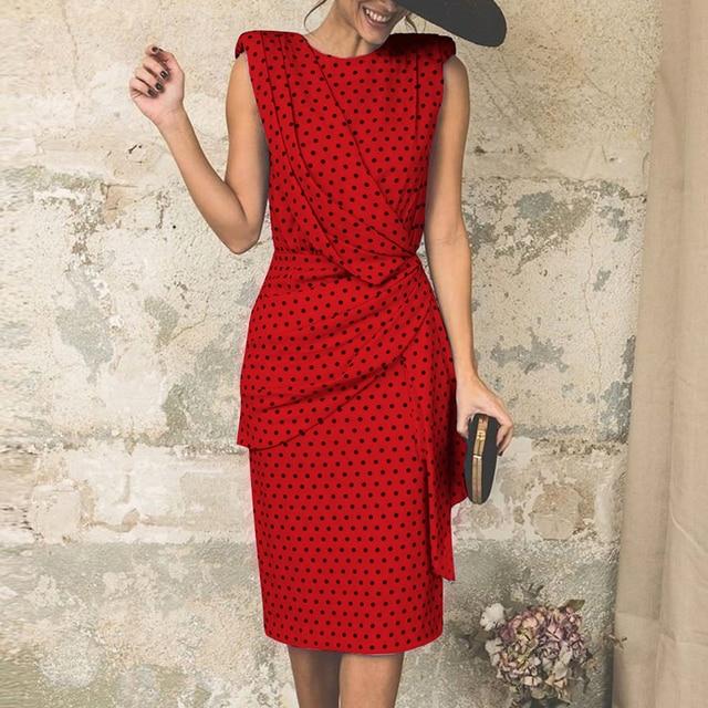 Elegant Dress Women Fashion Dot Polka Printed Bandage Dress Female Sleeveless Vintage Party Dress Vestidos SJ1919U