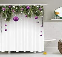 Christmas Shower Curtain Tree With Tinsel And Ball Present Wrap Ribbon Celebration Picture Fabric Bathroom Decor