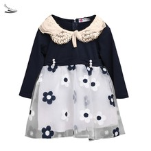 Baby Girls Dress Long Sleeve Patchwork Mesh Lace Tutu Dresses Girls Costumes Princess Female Kids Casual Clothes