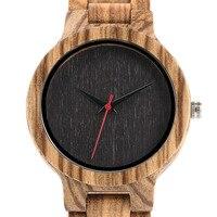 Moda Mens Zegarki Pełna Naturalne Drewno Bambusowe Sportowy Drewniany Zegar Kwarcowy Zegarek Ręcznie Czerwona Druga Ręce Mężczyzna Prezent + Torba