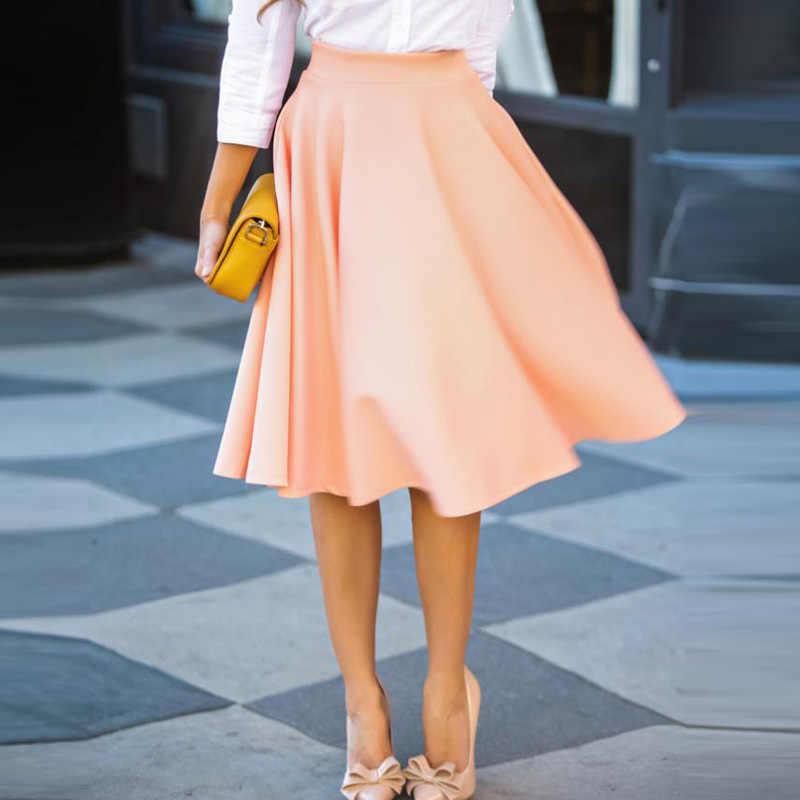 75cfc2a9d Falda Midi de verano para mujer ropa de cintura alta plisada una línea  Skater Vintage rosa rojo Casual hasta la rodilla Saia enaguas