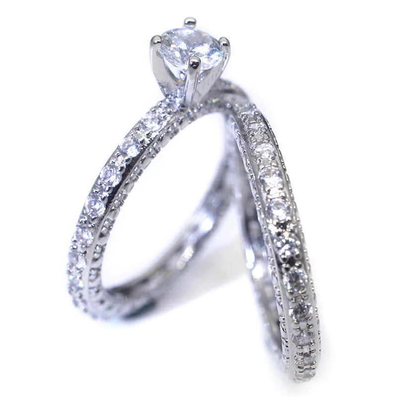 2 Pcs/Set Gorgeous Round Cut Cubic Zircon Ring For Women Rhinestones Engagement Wedding Rings Set Fine Jewelry