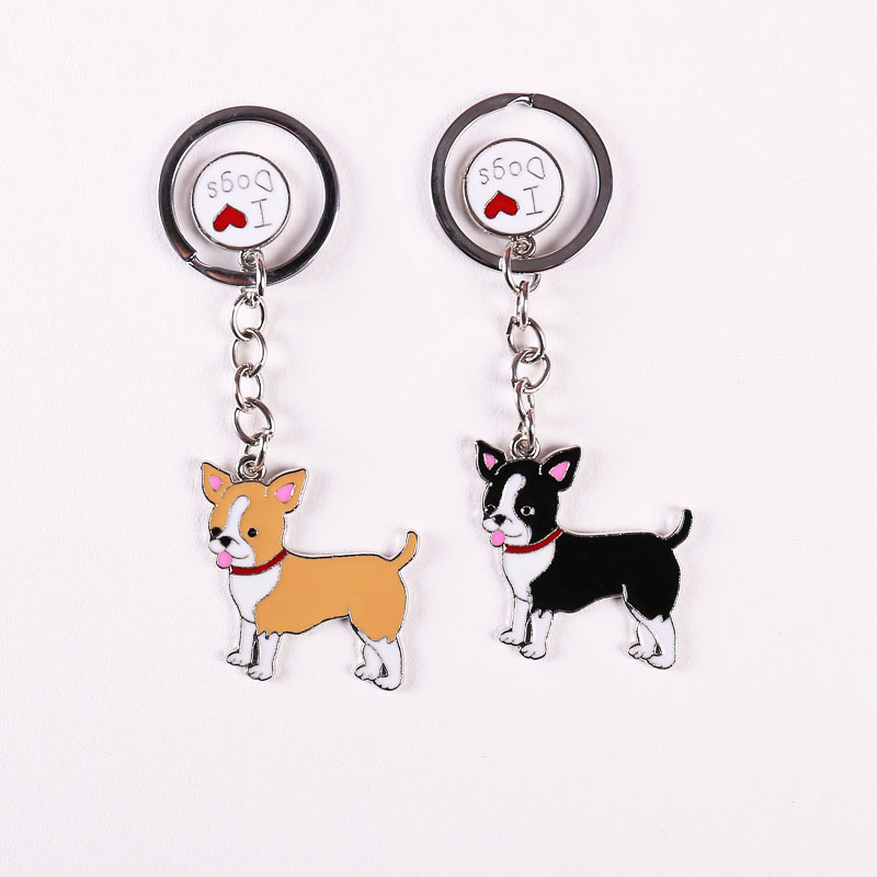 Keyring Fashion Chihuahua Pet Dogs KeyChains Best Friend's Gift key veriga Ženske nakit Key Tag Key na debelo Poceni Chains Torbe