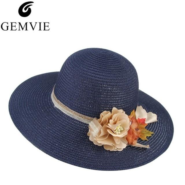 200c180b7 US $9.66 8% OFF|Fashion Floral Design Women Summer Hat Big Wide Brim Sun  Hat Lady Beach Straw Hats Panama Cap Bone Chapeau Femme-in Sun Hats from ...