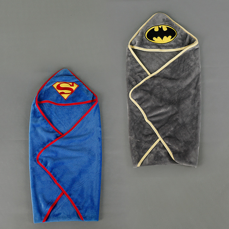Baby Blankets Newborn Stroller Superman Soft Fleece Infant Bebe Crib Bedding Cartoon Batman Towel Blanket Swaddling 80*80CM newborn baby blanket bed crib toddler unicorn pattern knit blankets infant soft baby fleece pram crib blanket size 60 120cm