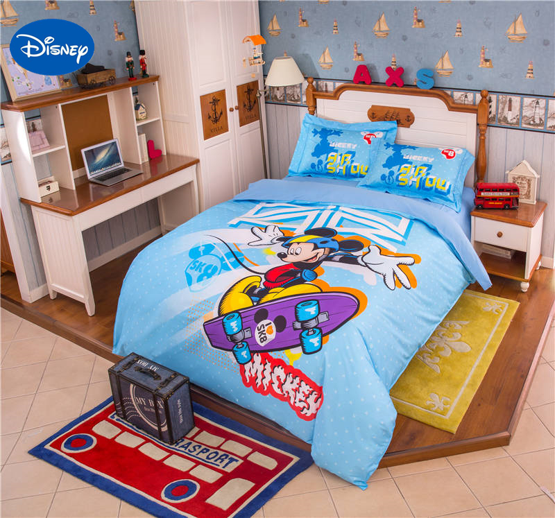 Blue Disney Cartoon Mickey Mouse Character skateboard 3D Printed Bedding Set  for Boys Bedroom Decor Cotton. Popular Mickey Mouse Bedding Sets Buy Cheap Mickey Mouse Bedding