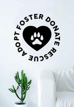 Foster Donation Rescue Dog Puppy Wall Decal Sticker Room Art Vinyl Pet Veterinary Paw Print Heart Love  CWY12 dog 56 cute paw heart wall sticker creative cartoon cat dog lover vinyl wall decal home