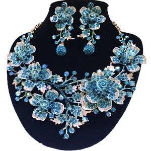 Image 5 - Zestawy biżuterii ślubnej dubaj złota biżuteria kobiety duży naszyjnik zestawy kobiety naszyjnik 24k złote zestawy biżuterii Rose naszyjnik kwiatowy