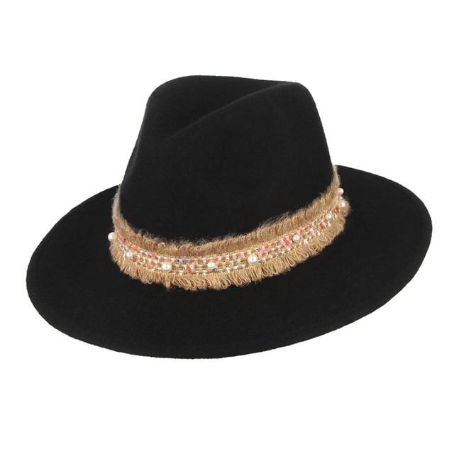 856cadf13f9e4 New Woolen Fedoras Wide Brim Jazz Cap for Men Women Fashion Belt Decor Pure  Wool Felt