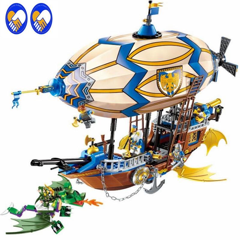 A Toy A Dream Enlighten2316 Building Block War of Glory Castle Knights Sliver Hawk Balloon Ship 669pcs Educational Bricks Toy art of war