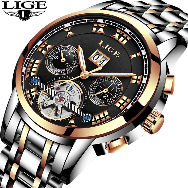 Men Watch Brand LIGE Mens Mechanical Watch Waterproof Sport Stainless Steel Man Wristwatch Rose Gold Business Fashion Male clock sewor brand sport men gold watch luxury mechanical automatic wristwatch men dress steel business fashion clock gift watch
