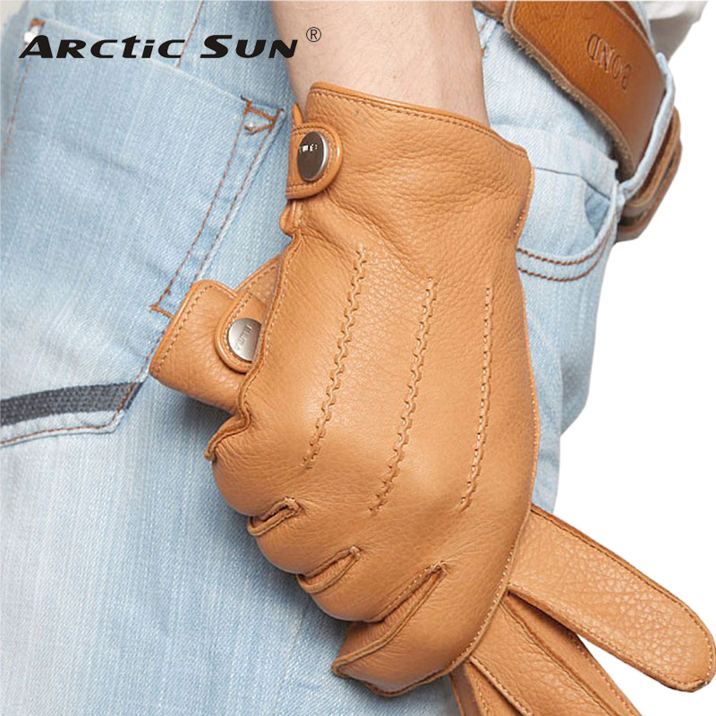 Fashion 2019 Luxury Men Deerskin Handsker Button Håndled Solid Original Læder Mandlig Winter Driving Glove Gratis Levering Em012wr