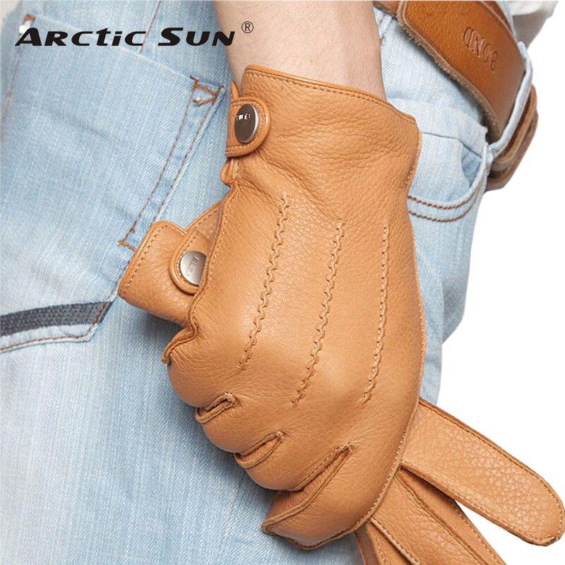 Mode 2018 Luxus Männer Hirschleder Handschuhe Taste Handgelenk Solide Echtem Leder Männlichen Winter Fahren Handschuh Freies Verschiffen Em012wr