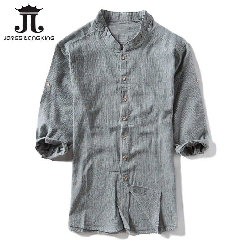 Three Quarter Men Shirts Linen Cotton Solid Stand Collar Flax 3XL Shirt For Men Clothing Slim Mens Shirt Plus size M-4XL 1623