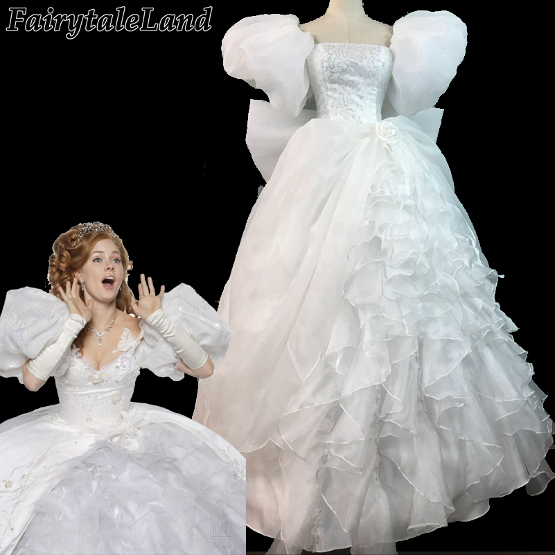 Movie Enchanted Princess Giselle Cosplay costume Adult women Halloween costumes White Party gown fancy Giselle Dress custom made