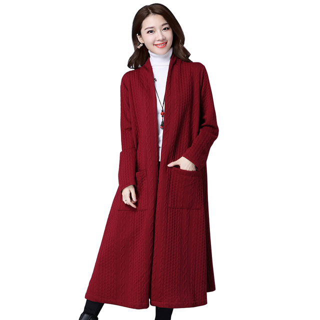 f88875025e 2018 New Autumn Winter Knitted Sweater Cardigan Women winter Jacket Loose  Big yards joker Medium Long Sweaters coat