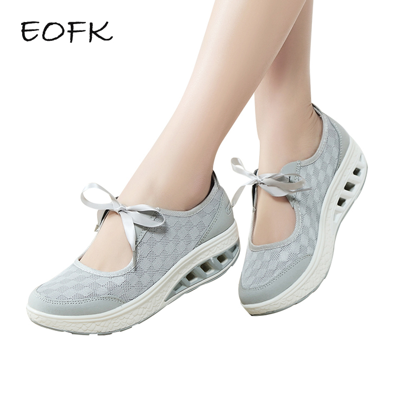 EOFK Summer Women Flat Platform Shoes Woman Casual Air Mesh Breathable Shoes Butterfly knot Lace Up