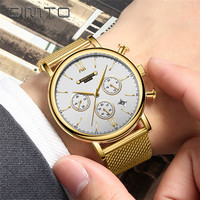 GIMTO Quartz Watches Men Top Brand Luxury Casual Stainless Steel Mesh Band Men Watch ClockAnalog Wristwatch