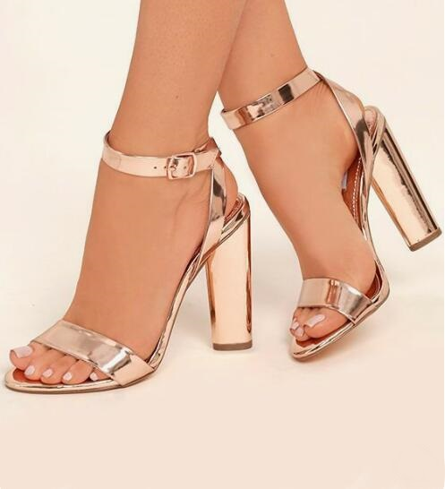 Gorgeous Rose Gold Leather Women Square Heels Sandals Cut out Clear Transparent Straps Block Heel Gladiator Sandals Women in High Heels from Shoes