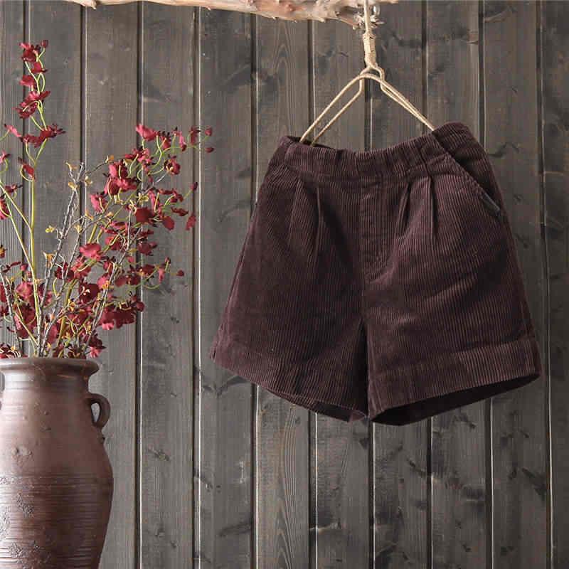 Czarny sztruksowe spodenki kobiet luźne wysokiej talii jesień zima szorty damskie na co dzień ciepłe krótkie Femme sztruks szerokie nogawki spodenki C5169