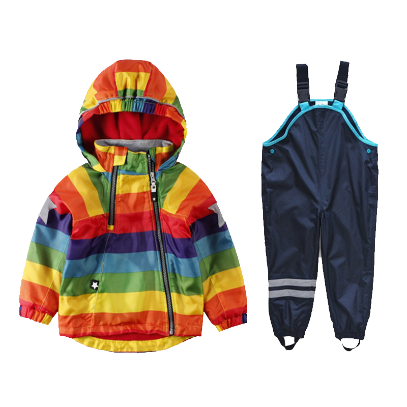 2019 children s clothing new boys and girls rainbow striped hooded jacket jacket bib windproof rain