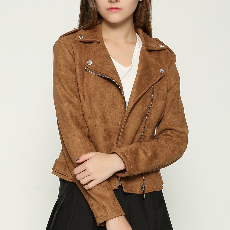 2018 New Hot Women Faux Soft Suede Leather Jackets Lady Brown Motorcycle Matte Coat Outerwear Pink Red Gray Coffee