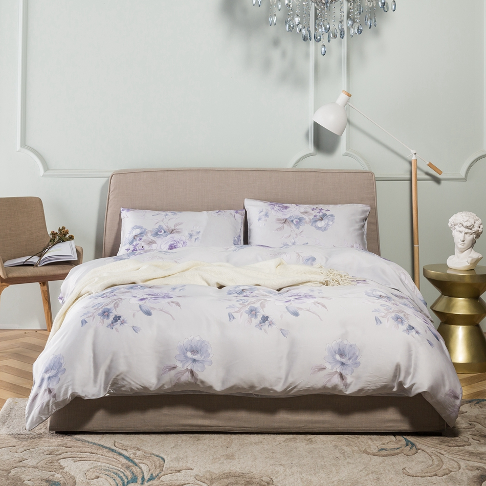 Purple bed sets queen - Purple Flowers Print Tencel Duvet Cover Set Queen King Size Adults Bedding Set Luxury Bed Linens For Home Satin Bed Sheets
