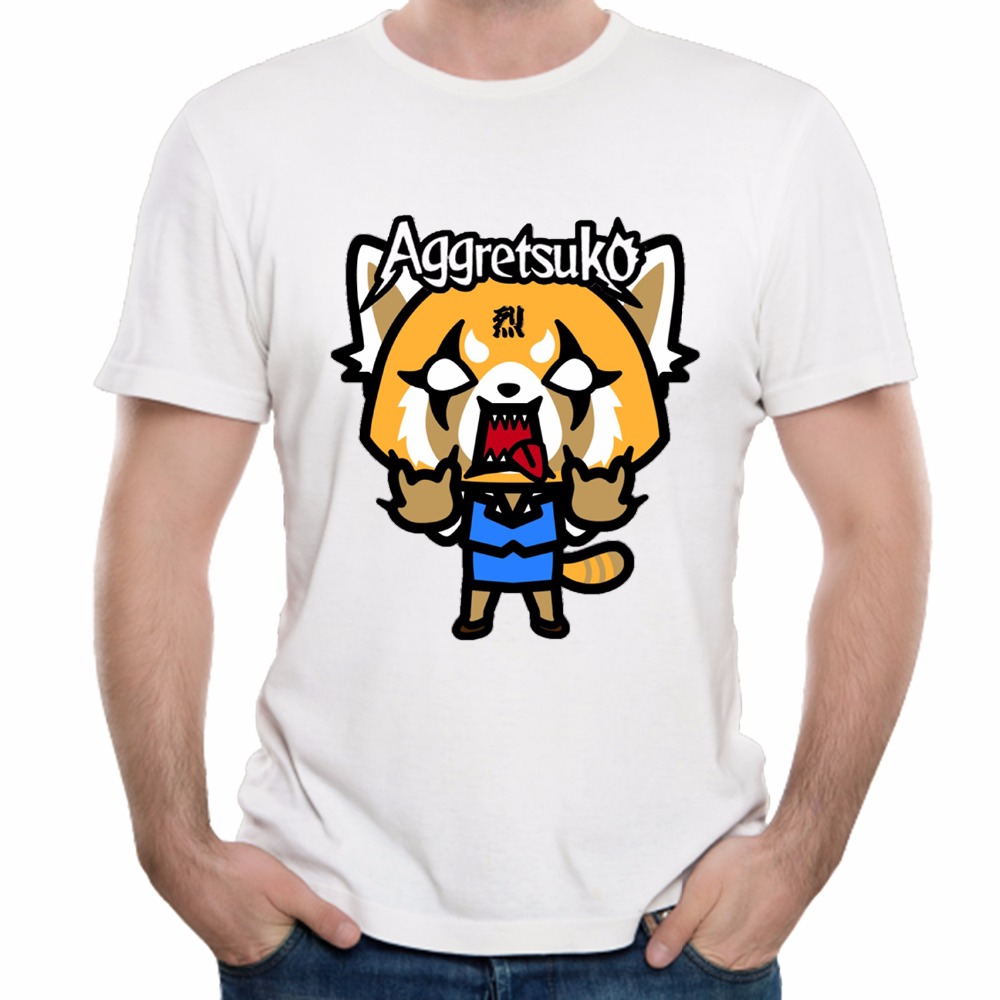 Aggretsuko T Shirt Funny Cartoon Aggressive Retsuko Tees Graphic Cotton 3D Print T Shirt Leisure Homme Tee Shirt Camiseta