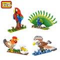 Aves loz diamond bloques de construcción modelo de pollo gallina pavo real águila loro assemblage bloques de juguete modelo diy 3d animales mayores de 14 años +