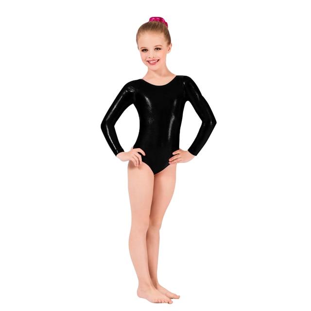 ad5647917d00 Ensnovo Girls Shiny Suit Ballet Dancewear Long Sleeve Unitard Girl ...