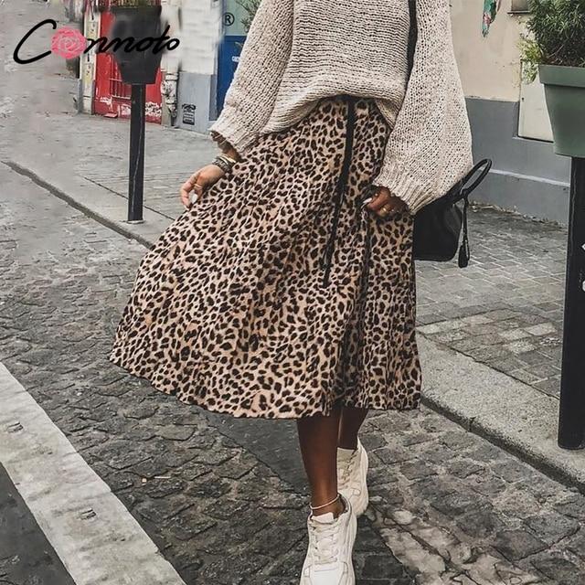 conmoto leopard print pleated skirt women 2018 streetwear midi skirt elastic high waist korean style skirt