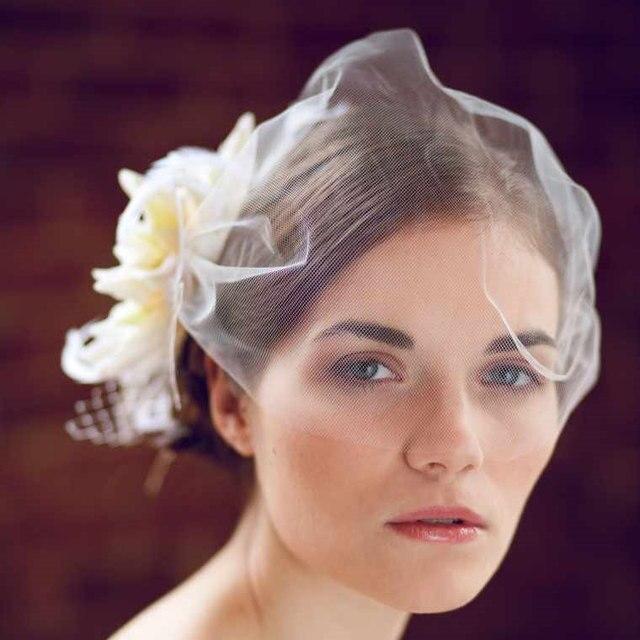 Ivory Soft Tulle Birdcage Veils For Bride Short Wedding Veil Flowers Hot Accessories