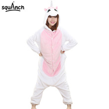 Unicorn Onesie Women Adult Pink White Pajamas Fashion Casual Girls Student Jumpsuit Winter Warm Flannel Sleep Clothing Fancy