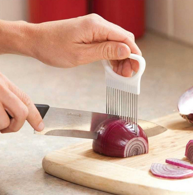 Onion Holder Stainless Steel Vegetable Cutter Slicer Gadget 1