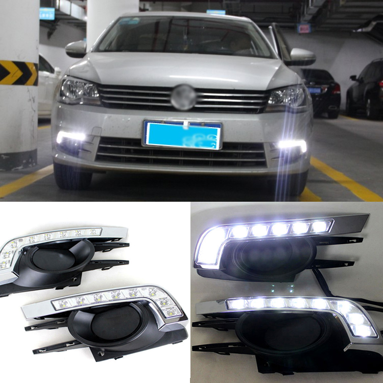Brand New Updated LED Daytime Running Lights DRL With Black Foglights Cover For VW Bora 2013 brand new updated led daytime running lights drl with black foglights cover for mazda 3 axela 2013 14