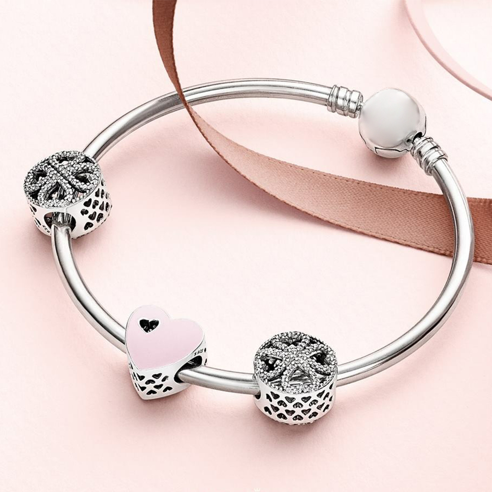 100% 925 Sterling Silver 1:1 SWEET LOVE HEART Petals of Love Four leaf Clover Beaded Bracelet Bangle Gift Set