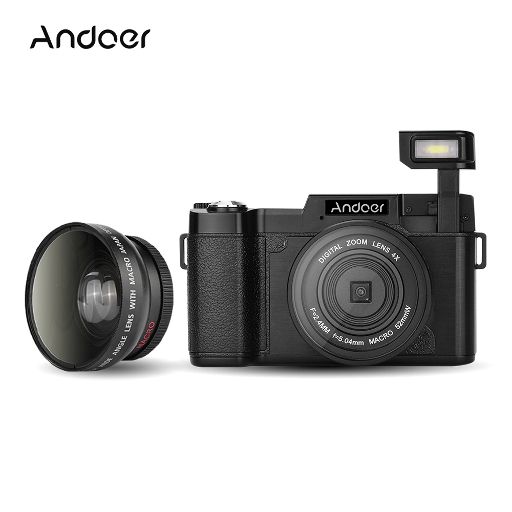 Andoer CDR2 1080P 15fps Full HD 24MP Digital Video Camera  4X Flashlight DV Anti-shake 24MP Camcorder Wide-angle Lens