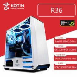 Kotin R36 Intel i7 8700 игровой ПК настольный 240 ГБ SSD GTX 1060 видеокарта компьютер домашний процессор Intel 8-го поколения 5 бесплатных вентиляторов