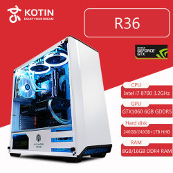 Kotin R36 Intel i7 8700 Gaming PC Desktop 240GB SSD GTX 1060 Graphics Card Computer Home Intel 8th Generation CPU 5 Free Fans