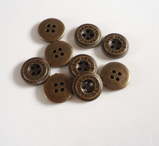 ABS Green bronze round 4 - holes English letters button Shirts flatback buttons 200 pcs/lot free shipping