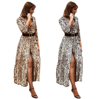 Long Sleeve Maxi Shirt Dress Women New Sexy Casual Button Long Dress Snake Skin Turn Down Collar Shirt Dress Vestidos De Fiesta