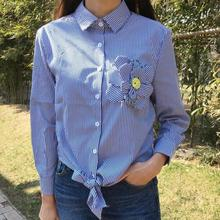 2016 new autumn women Striped shirt blouses long sleeve corsage design lacing hem shirt tops plus size M-5XL,T483