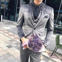 Suits Mens Terno Slim Fit Velvet Tuxedo Jaqueta Masculino Men Prom Suits British Groom Wedding Dress Suits 2019 Autumn Winter