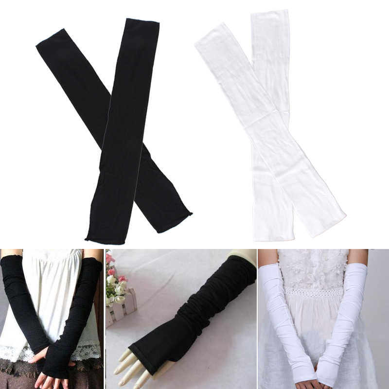 A Pair Fashion Girls Summer Long Half Finger UV Protection Sun Block Gloves 4 Colors ,High Quality Female Gloves