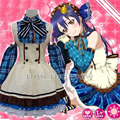 Japanese Anime Love Live! Sonoda Umi Lolita Meninas Doce Fantasia Maid Vestido Cosplay Uniforme