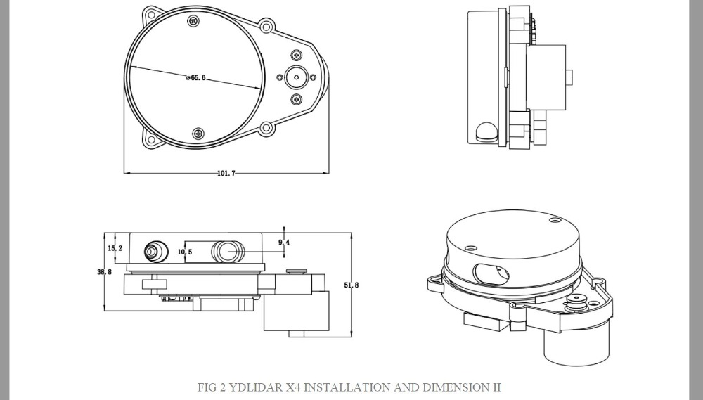 EAI YDLIDAR X4 LIDAR Laser Radar Scanner Ranging Sensor Module 10 meters  5KHz Ranging Frequency EAI YDLIDAR-X4 for ROS