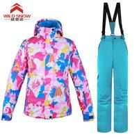 Для женщин Бренды новый зимний лыжный костюм модные женские туфли комплекты Высокое качество ветрозащитный Водонепроницаемый Для женщин к