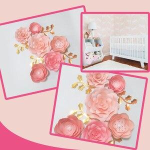 Handmade Baby Pink Rose papier do majsterkowania kwiaty liście zestaw Baby Shower Backdrops dekoracje dziewczyny przedszkole dekoracja ścienna samouczki wideo