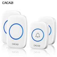 CACAZI Waterproof Wireless Doorbell Battery 2 Transmitter 2 Receiver US EU UK AU Plug Intelligent Home Calling Ring Bell Chime