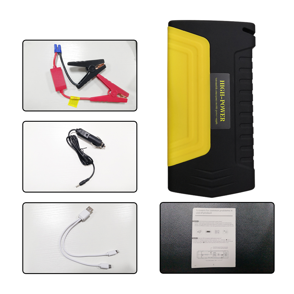 Démarreur de saut de voiture Portable 12 V pour voiture essence Booster de batterie USB unité de charge connecteur moteur de voiture alimentation de secours